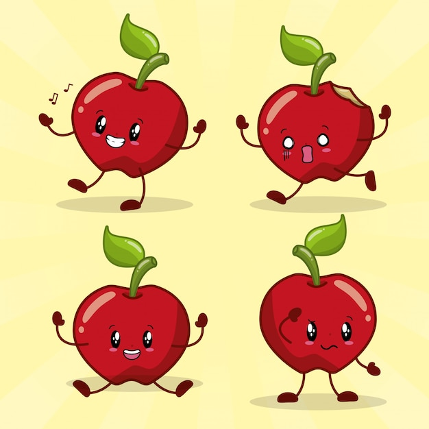 Emotionen kawaii frset von 4 kawaii äpfeln mit unterschiedlichem glücklichem ausdruck Kostenlosen Vektoren