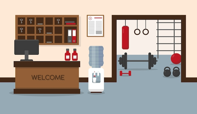 Empfang im fitnesscenter. fitnessraum mit trainingsgeräten. Premium Vektoren