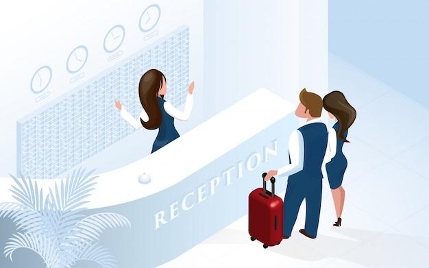 Empfangsdame an der hotelrezeption welcome couple Premium Vektoren