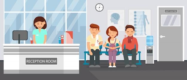 Empfangsraum in der klinik Premium Vektoren