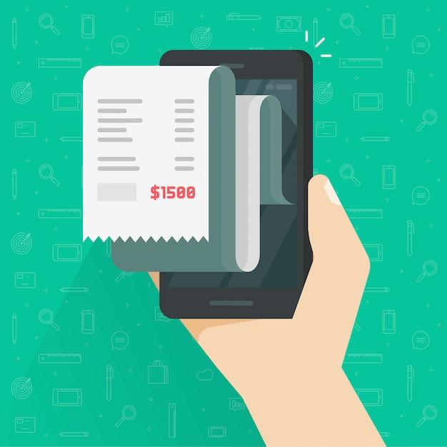Empfangsrechnung oder rechnungseingang auf handy- oder mobiltelefonillustration lokalisierten flache karikatur Premium Vektoren