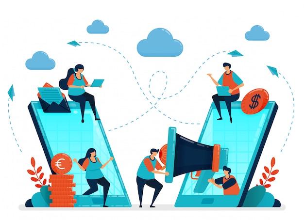 Empfehlen sie einen freund für ein partner- und empfehlungsprogramm. werbung und marketing mit handy-anzeigen und seo. smartphone-technologie, um menschen zu verbinden. Premium Vektoren