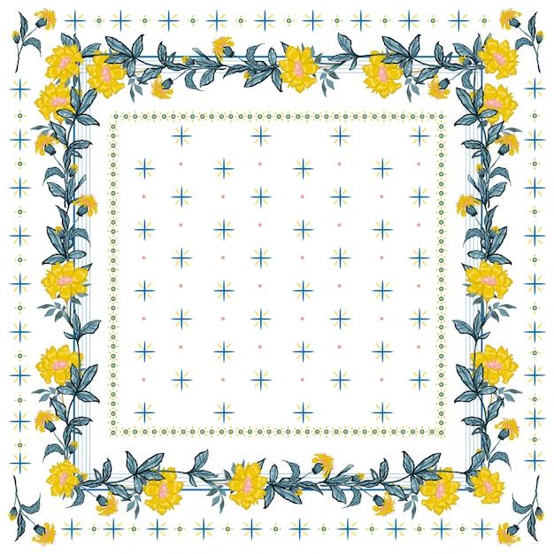 Empfindliche stimmung des silk schals mit blühendem nahtlosem muster der gelben blume in der bandanaart. Premium Vektoren