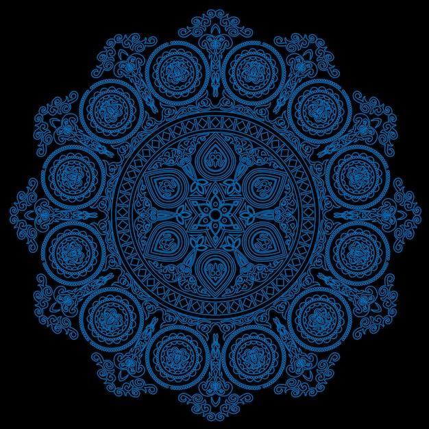 Empfindliches blaues mandalamuster in der bohoart auf schwarzem Premium Vektoren