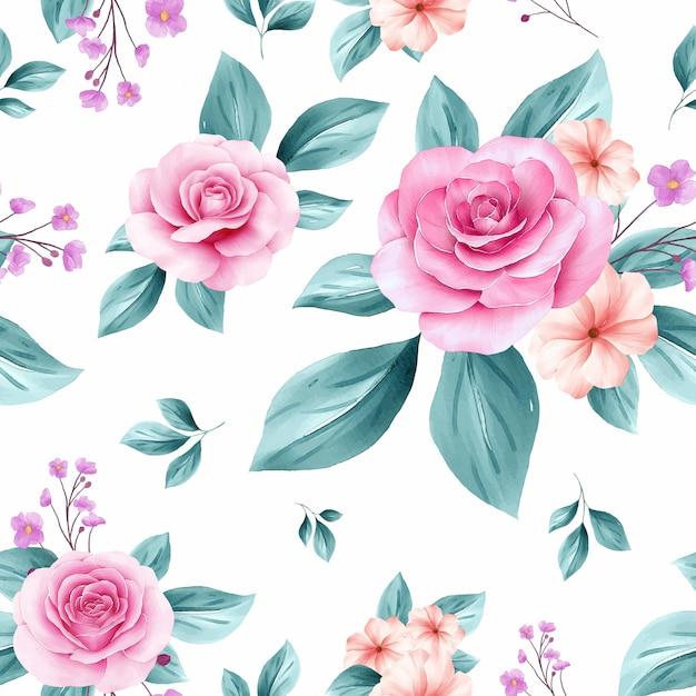 Empfindliches nahtloses muster von erröten und weichen blauen aquarellblumenvorbereitungen Premium Vektoren