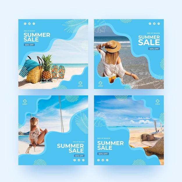 Ende der saison sommer verkauf instagram post Premium Vektoren