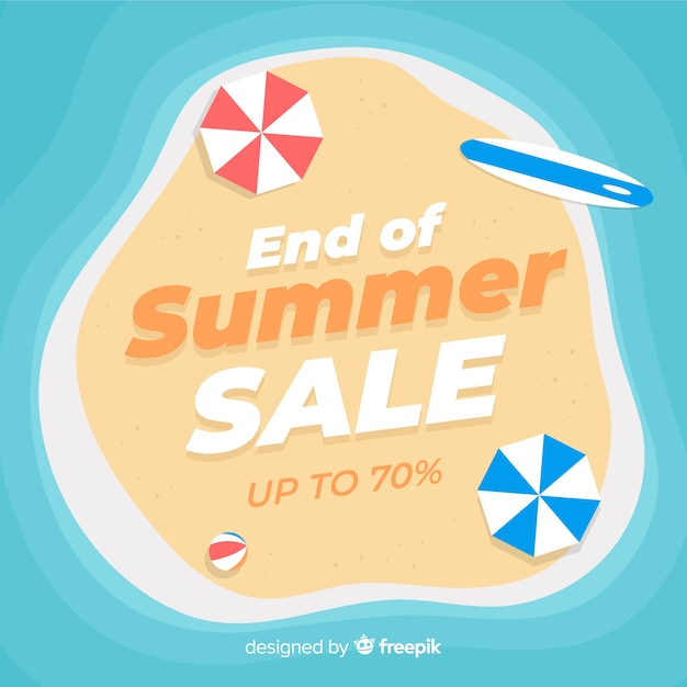 Ende des sommerschlussverkaufsstrandhintergrundes Kostenlosen Vektoren