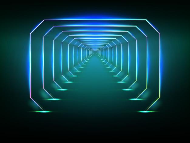Endloser futuristischer tunnel Premium Vektoren