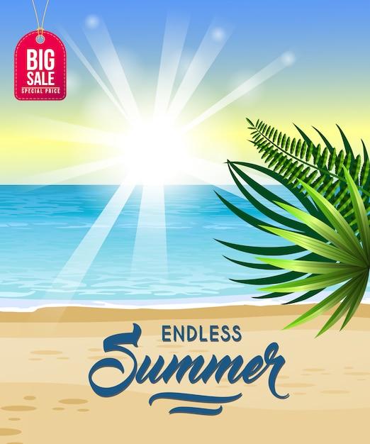 Endloser sommer, großes verkaufsplakat mit meer, tropischem strand, sonnenaufgang und palmblättern. Kostenlosen Vektoren