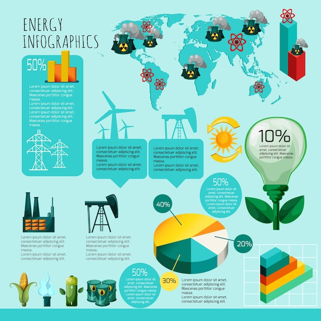 Energie-infografik-set Kostenlosen Vektoren