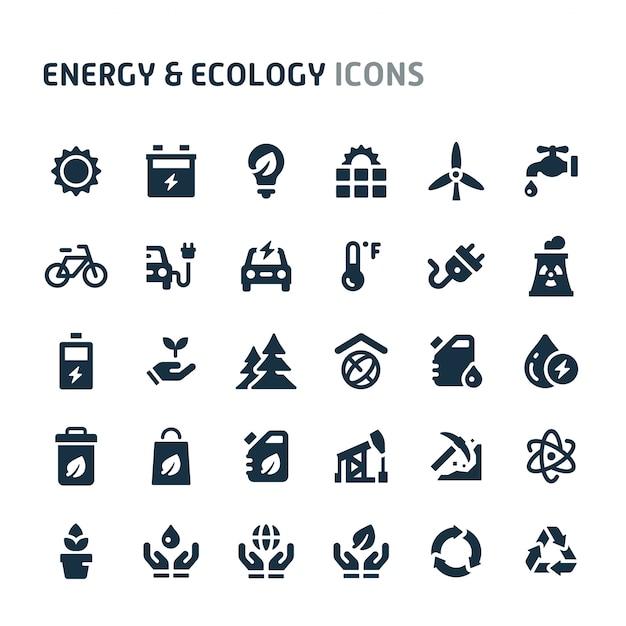 Energie & ökologie icon set. fillio black icon-serie. Premium Vektoren