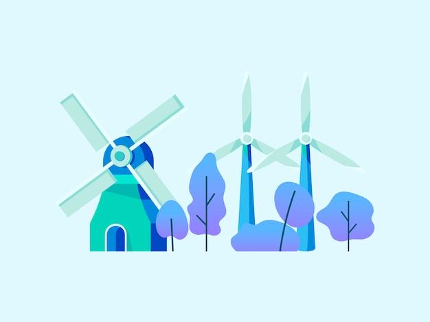 Energie sparen mit windkraft Kostenlosen Vektoren