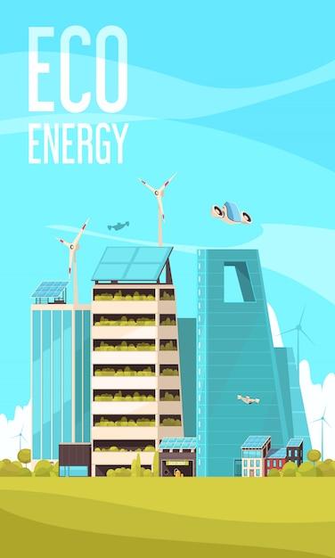 Energieeffiziente infrastrukturclustergebäude der intelligenten stadt unter verwendung des vertikalen werbehintergrundplakats der öko-energie-ebene Kostenlosen Vektoren