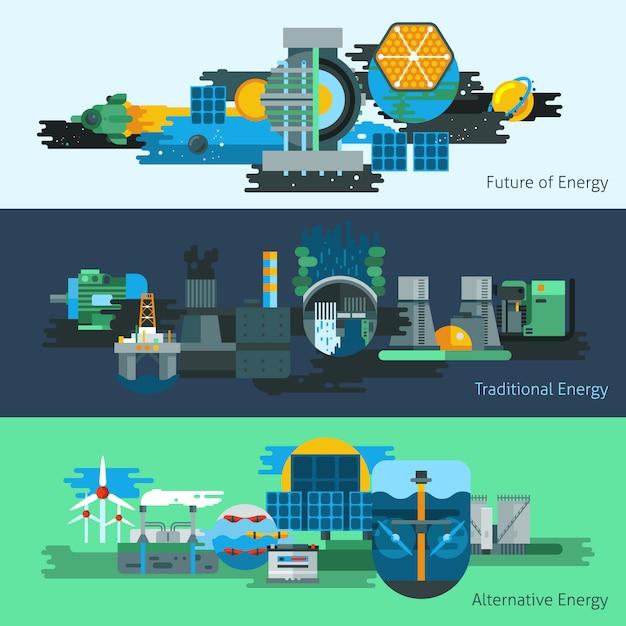 Energieproduktion banner-set Kostenlosen Vektoren