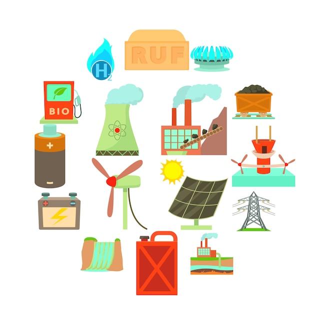 Energiequelleneinzelteilikonen eingestellt, karikaturart Premium Vektoren