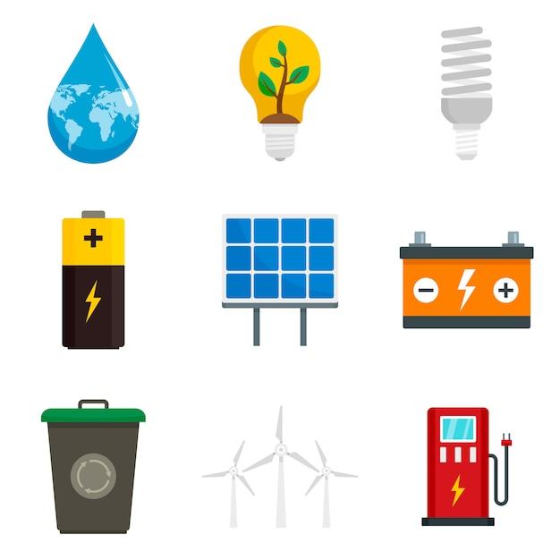 Energiespar-icon-set Premium Vektoren