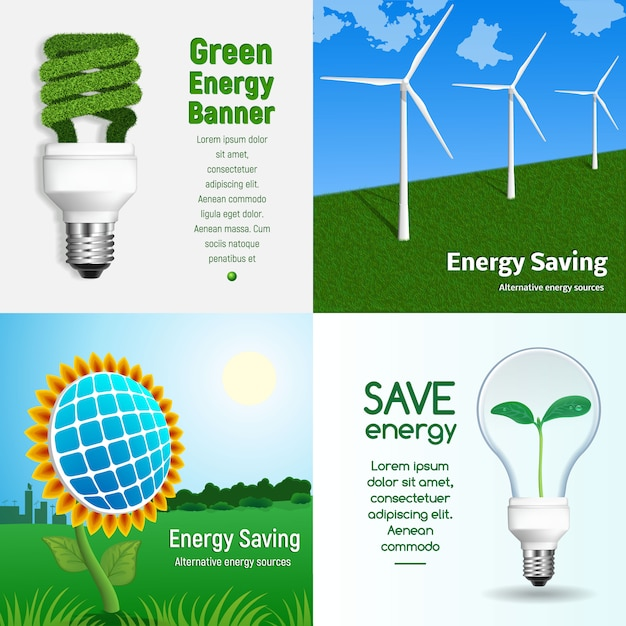 Energiesparende banner gesetzt Premium Vektoren