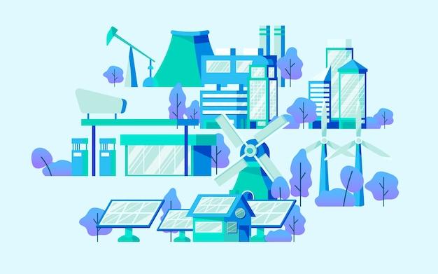 Energiesparender konzeptvektor im blau Kostenlosen Vektoren