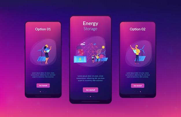 Energiespeicher-app-interface-vorlage. Premium Vektoren