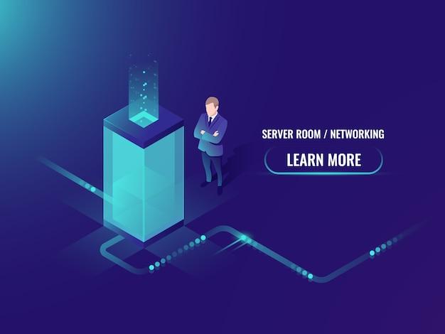 Energietechnologie-neonstil, serverraumzahnstange, rechenzentrumskonzept, große datenverarbeitung Kostenlosen Vektoren