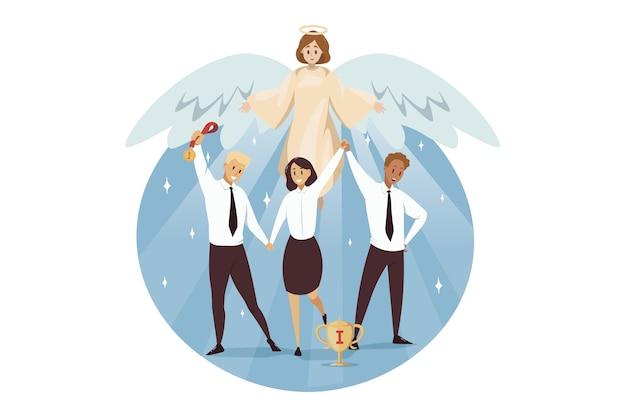 Engel biblisch religiöser charakter schützt geschäftsleute frau angestellte manager Premium Vektoren