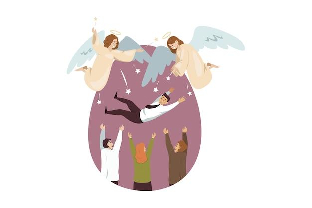 Engel biblische charaktere freuen sich für team von geschäftsleuten frauen manager Premium Vektoren