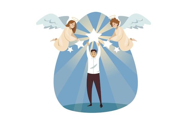 Engel biblische charaktere helfen, jungen geschäftsmann clerk manager zu verherrlichen Premium Vektoren