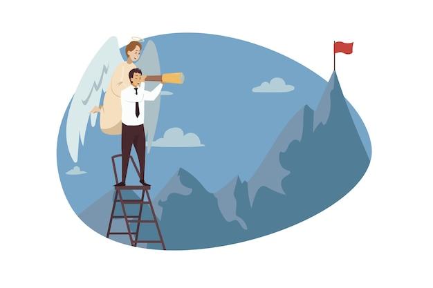 Engel biblischer charakter, der jungen geschäftsmannschreibermanager betrachtet, der gebirgsflagge betrachtet Premium Vektoren
