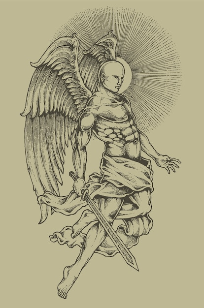 Engel gravur heraldik wappen Premium Vektoren