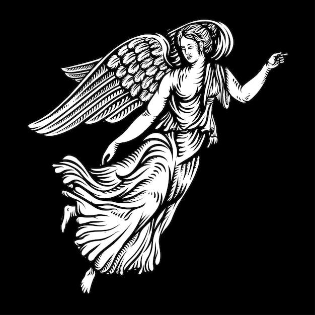 Engel in der von hand gezeichneten illustration der grafischen art Premium Vektoren