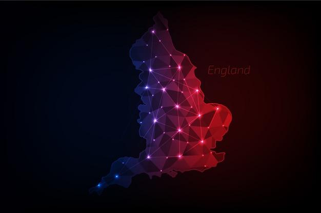 England karte polygonal mit leuchtenden lichtern und linie Premium Vektoren