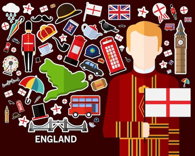 England-konzepthintergrund flache ikonen Premium Vektoren