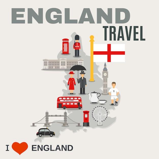 England-kultur für reisende poster Kostenlosen Vektoren