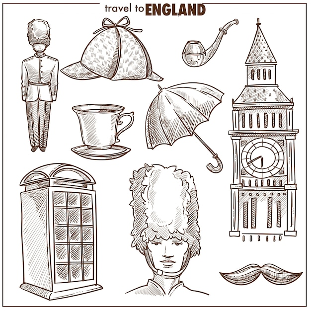 England reisen tourismus vektor skizzensymbole Premium Vektoren