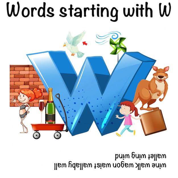 Englisch Arbeitsblatt für Wörter beginnend mit W | Download der ...