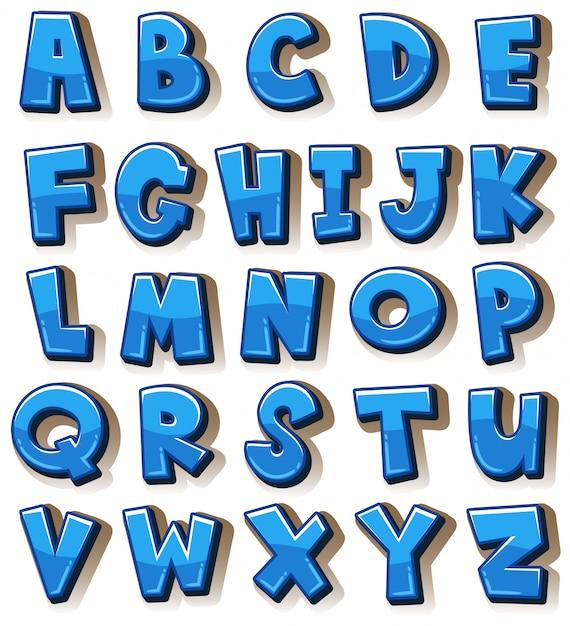 Englische alphabete in blauen blöcken Premium Vektoren