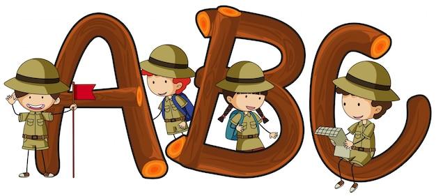 Englische alphabete und kinder im safari-outfit Kostenlosen Vektoren