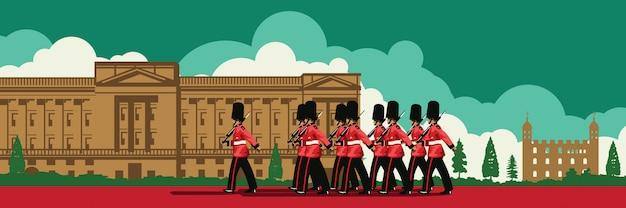 Englische soldatenwegfrontseite des buckingham palace Premium Vektoren