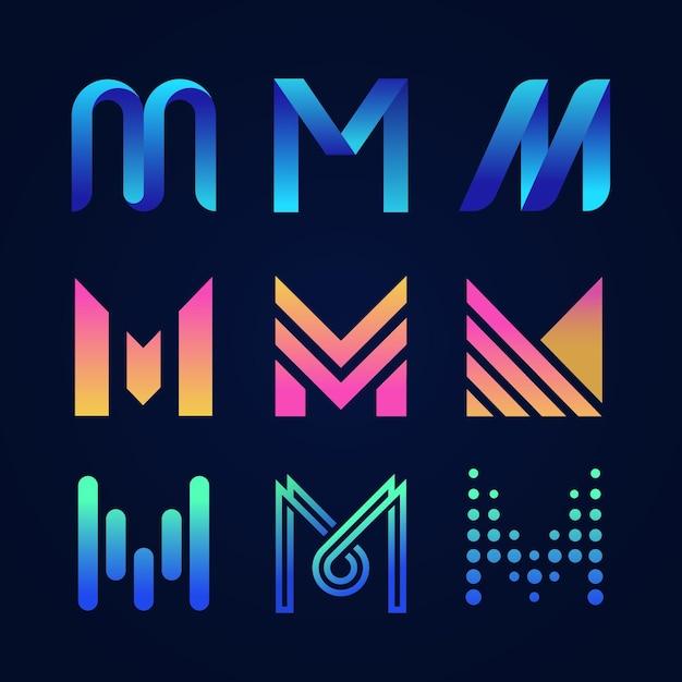 Englischer buchstabe m logo-sammlung Premium Vektoren