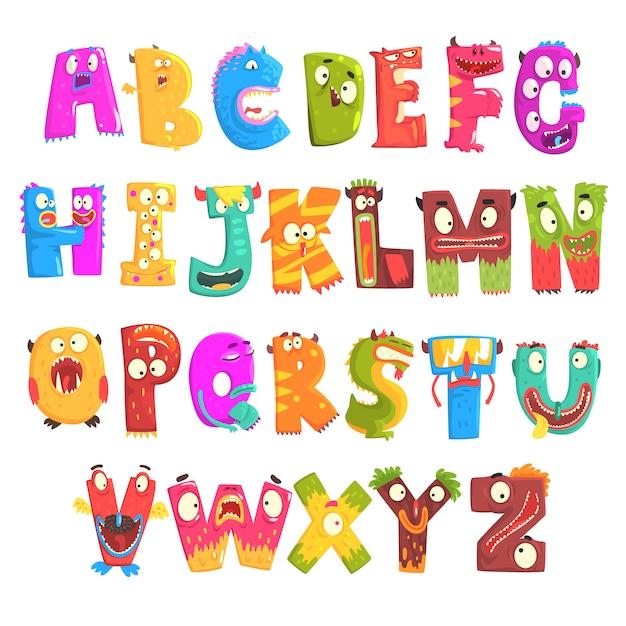 Englisches alphabet der bunten karikaturkinder mit lustigen monstern. bildung und entwicklung von kindern detaillierte bunte illustrationen Premium Vektoren