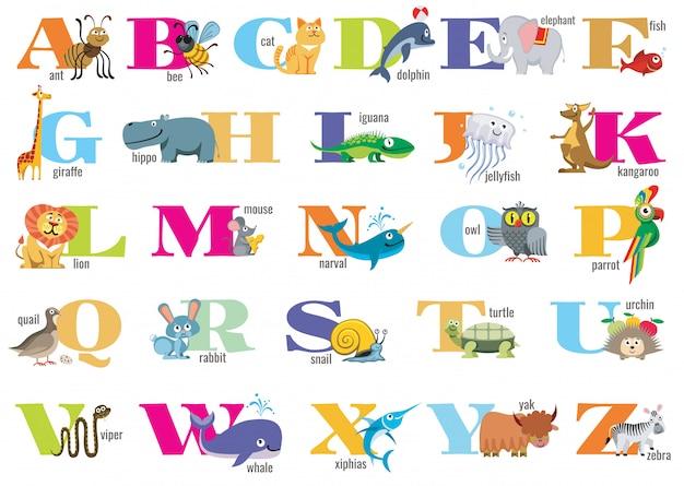 Englisches alphabet für kinder mit niedlichen tieren Premium Vektoren