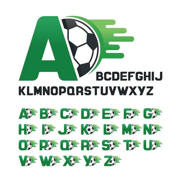 Englisches Alphabet Mit Fussball Grafiken Und Bewegungslinie