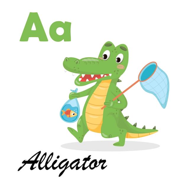Englisches alphabet mit tieren für kinder. alligator abc auf weißem isoliertem hintergrund Premium Vektoren