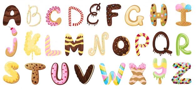 Englisches süßes alphabet. illustration auf weißem hintergrund. Premium Vektoren