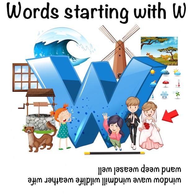 Englisches wort, das mit w-illustration beginnt Kostenlosen Vektoren