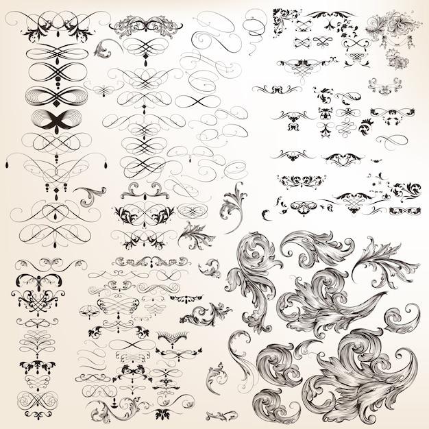 Enorme sammlung dekorative kalligraphische flourishes des vektors Kostenlosen Vektoren