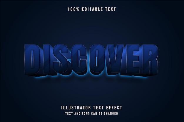 Entdecken sie, 3d bearbeitbaren texteffekt blaue abstufung neon textstil Premium Vektoren