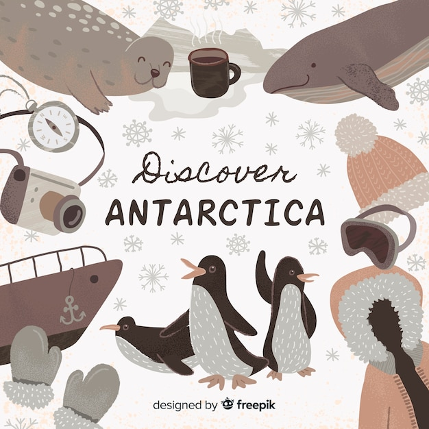 Entdecken sie die antarktis Kostenlosen Vektoren