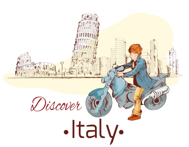 Entdecken sie italien illustration Premium Vektoren