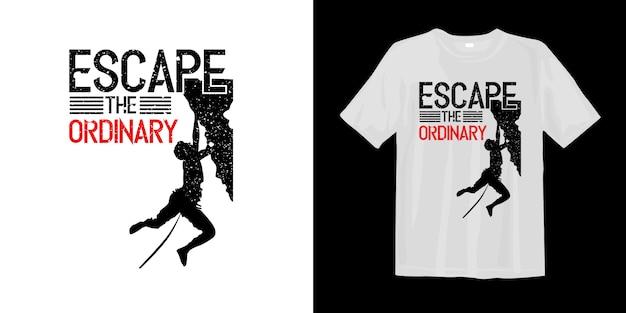 Entfliehen sie dem gewöhnlichen t-shirt mit der silhouette eines kletterers Premium Vektoren